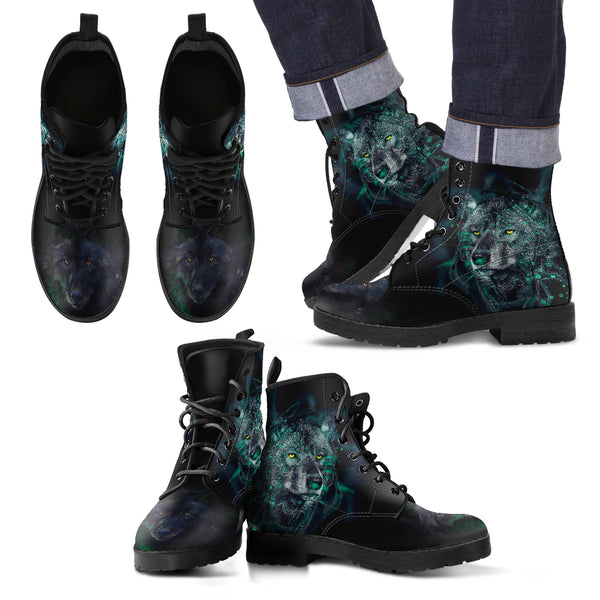 New Comfortable Lace Up Leather Boots- Wolf and Green Light 002 - designfullprint
