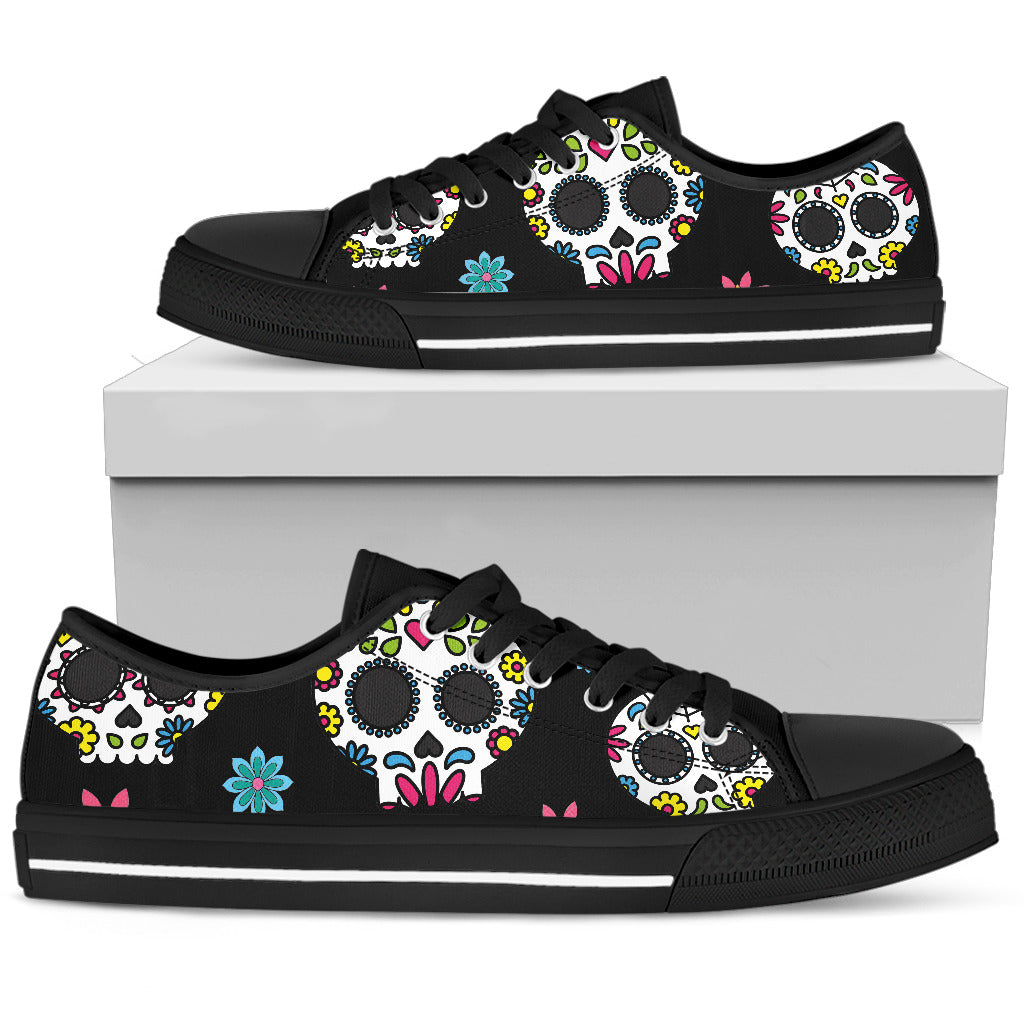 Mexican Sugar Skull Low Top Canvas Shoes 001