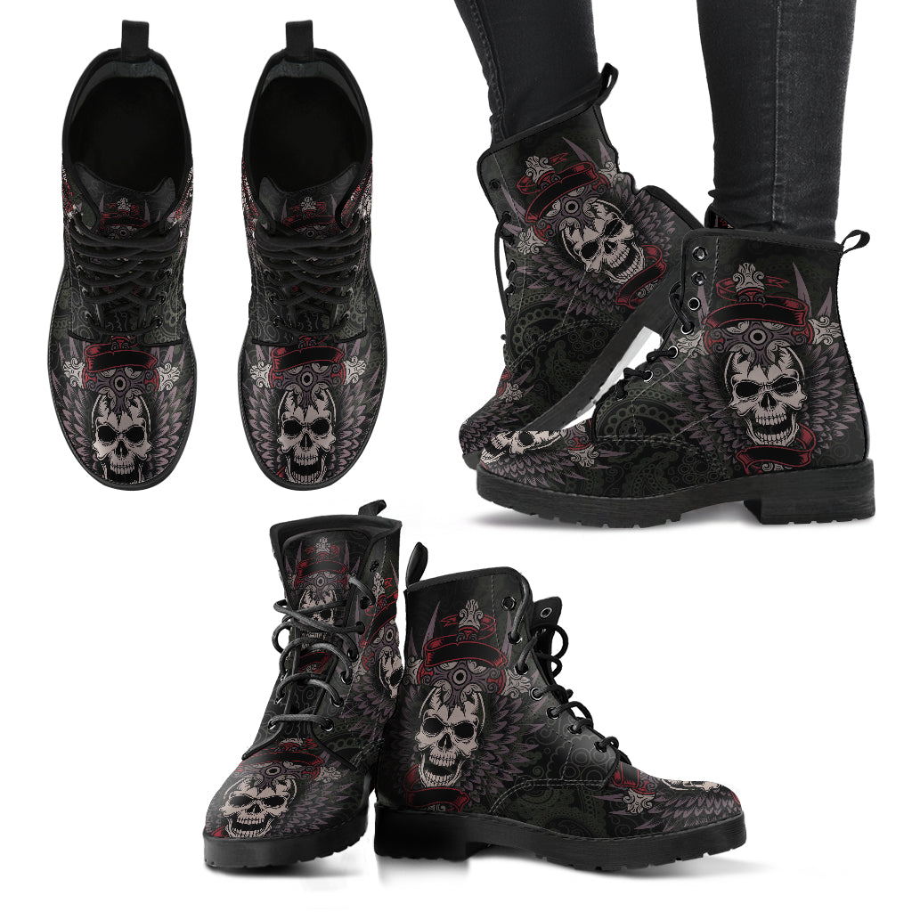 New Comfortable Lace Up Leather Skull Boots 006