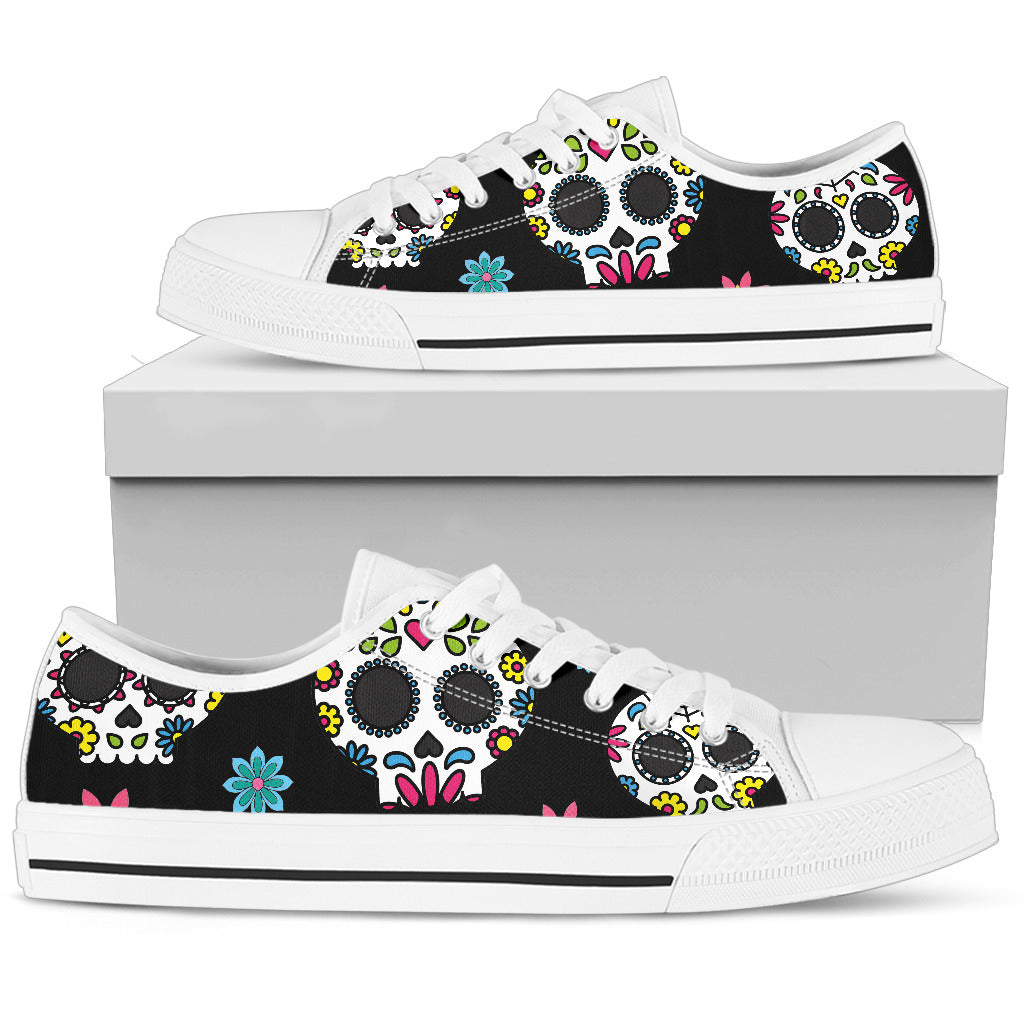Mexican Sugar Skull Low Top Canvas Shoes 001 - designfullprint
