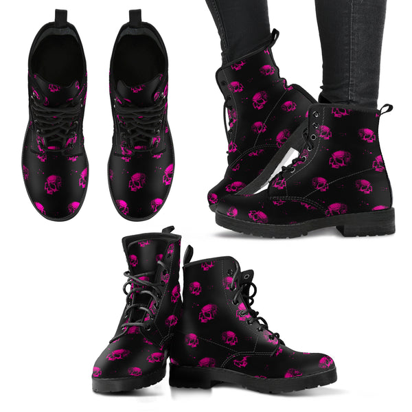 New Comfortable Lace Up Leather Boots Skull 015 - designfullprint