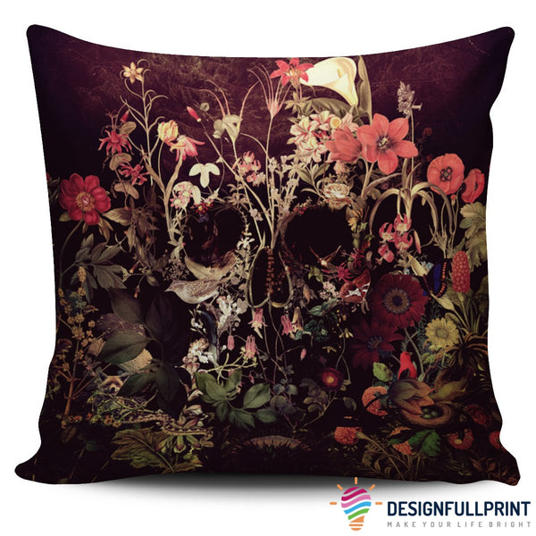 Bloom Skull Pillow Cover - designfullprint