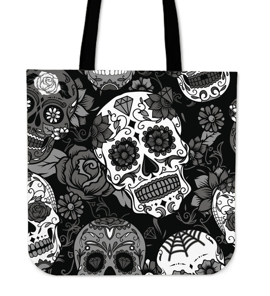 Skull With Roses Tote Bag - designfullprint