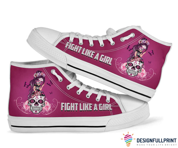 Pink Sugar Skull Girl Breast Cancer Awareness Shoes