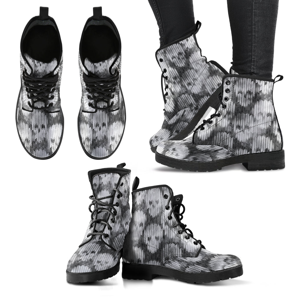 New Comfortable Lace Up Leather Boots Skull 016