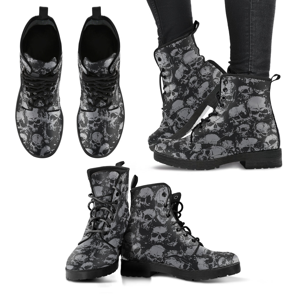 New Comfortable Lace Up Leather Boots Skull 019