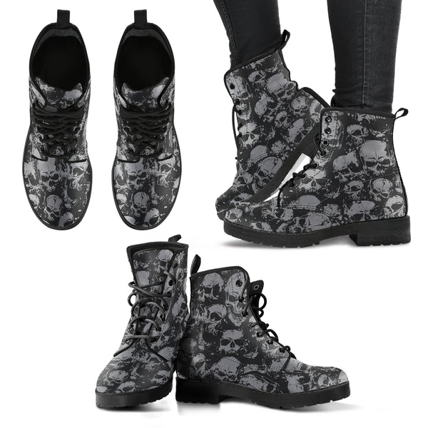 New Comfortable Lace Up Leather Boots Skull 019 - designfullprint