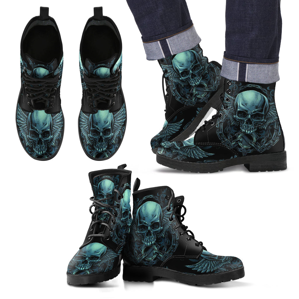 New Comfortable Lace Up Leather Skull Boots 004