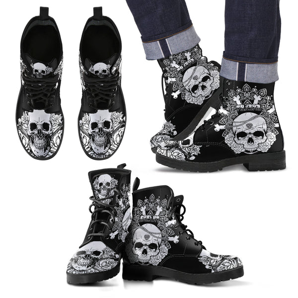 New Comfortable Lace Up Leather Skull Boots 005