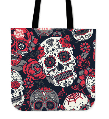 Skull With Roses Tote Bag Red