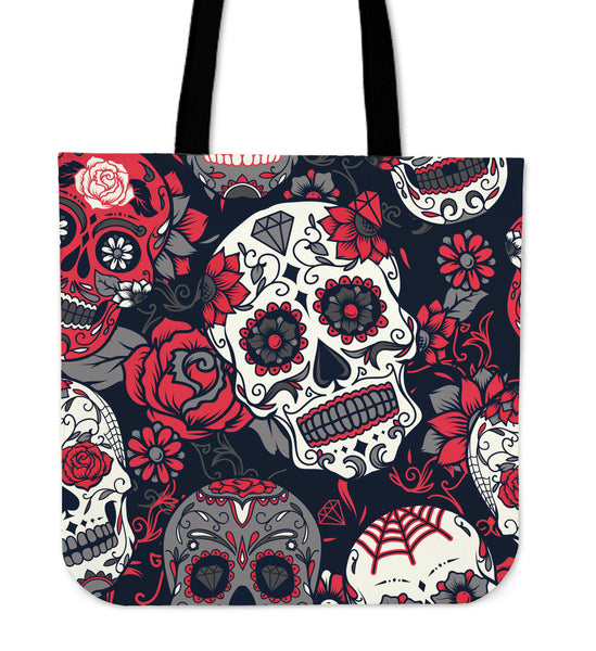 Skull With Roses Tote Bag Red - designfullprint