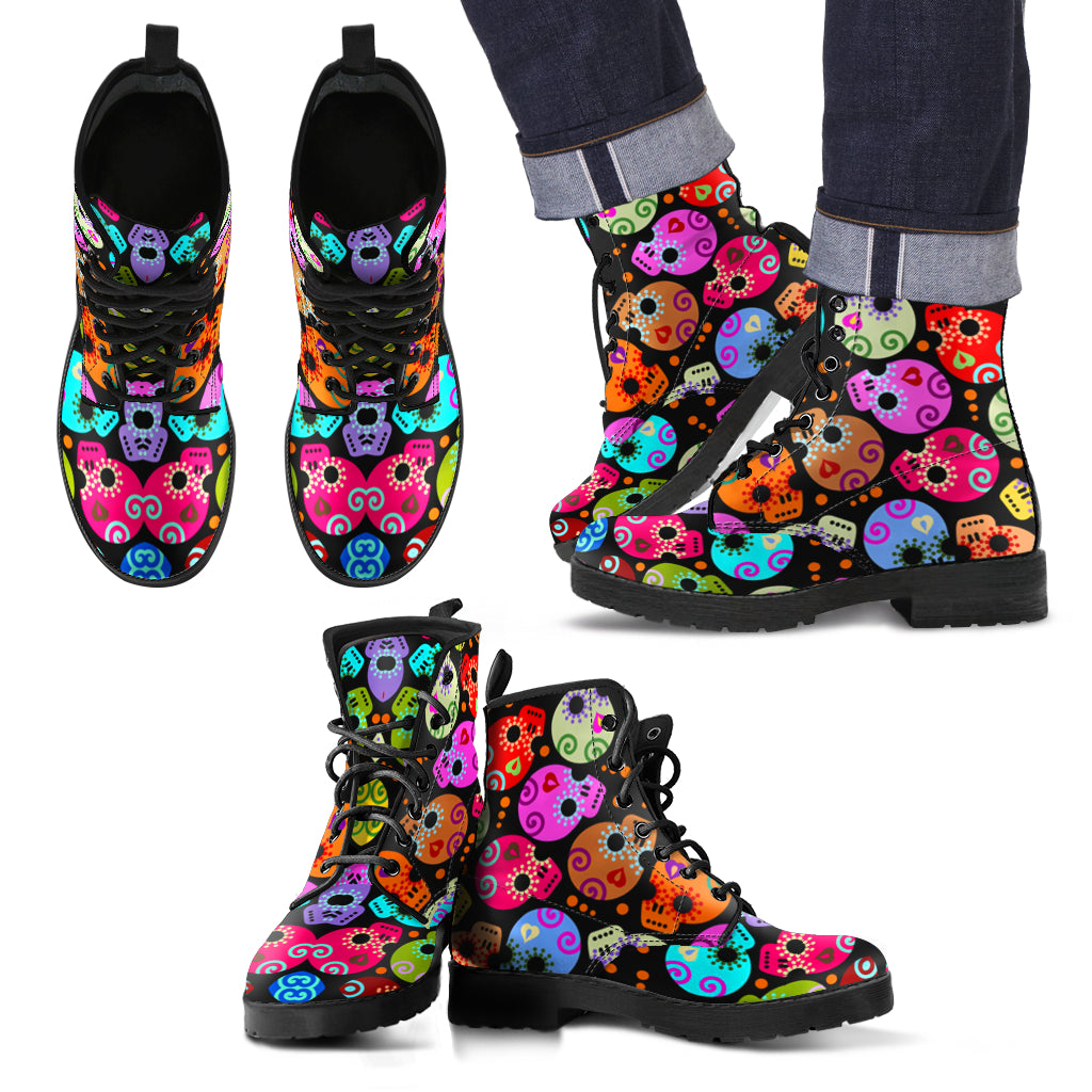 New Comfortable Lace Up Leather Skull Boots 003