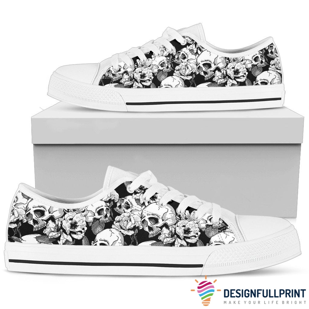 Skull Low Top Canvas Shoes 04 Women, White/Black
