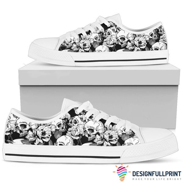 Skull Low Top Canvas Shoes 04 Women, White/Black - designfullprint