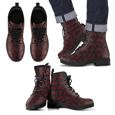 New Comfortable Lace Up Leather Skull Boots 008