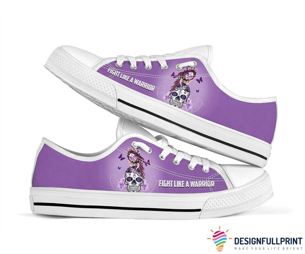 Fight Like A Warrior Purple Sugar Skull Girl Cancer Awareness Shoes