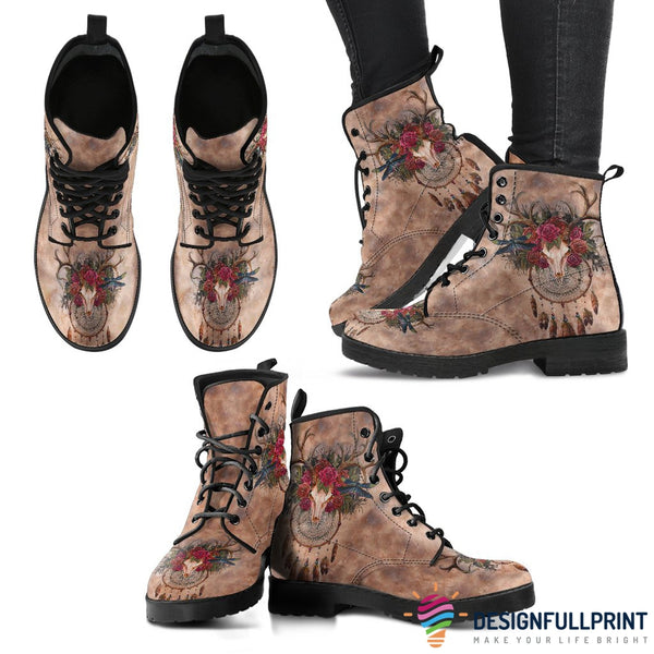 Deer Skull New Comfortable Lace Up Leather Boots 001 - designfullprint