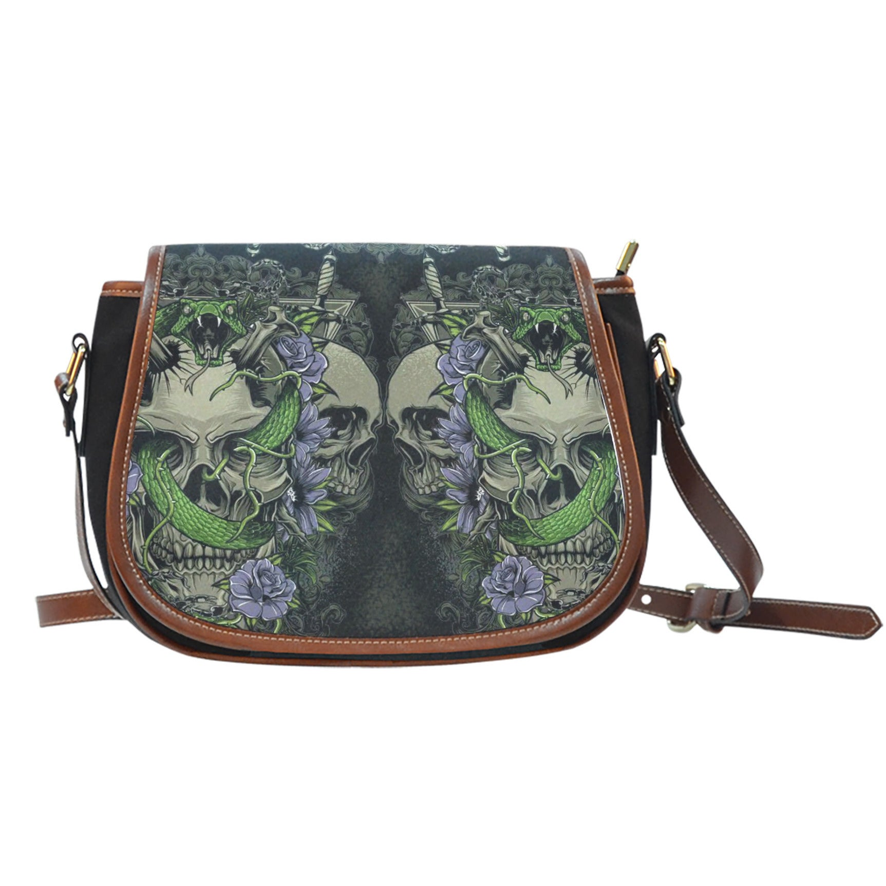 3D Skull Leather Cross-Body Carrying Strap Canvas Saddle Bags 004