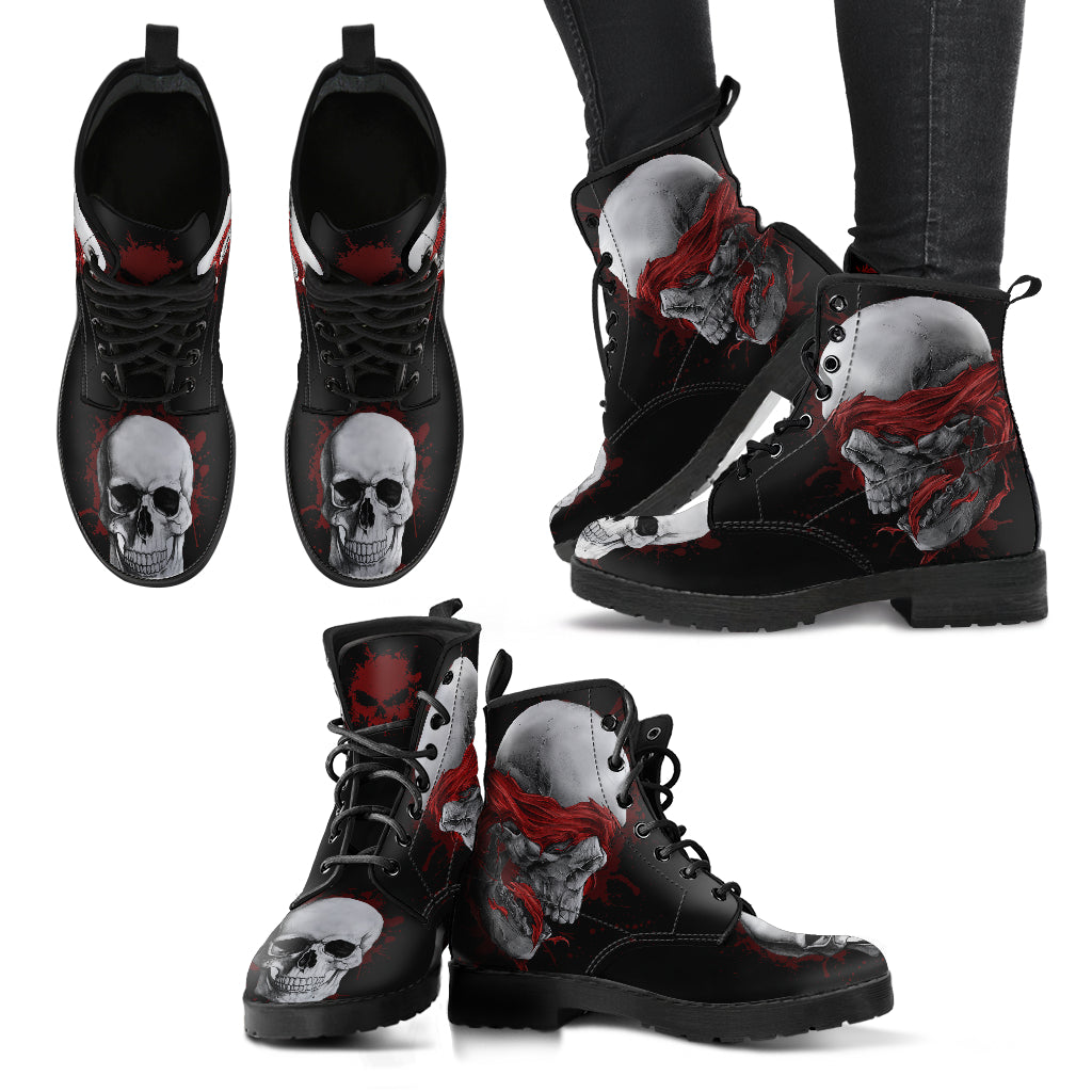 New Comfortable Lace Up Leather Skull Boots - Skull Blindfolded 010 - designfullprint