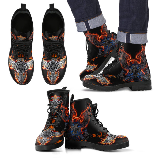 Leather Comfortable Lace Up Boots - FIRE DEPT FireFighter Fire Rescue (Men & Women Size) 001 - designfullprint