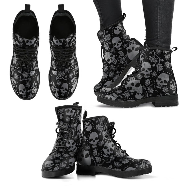 Skull with Flowers Women's Boots