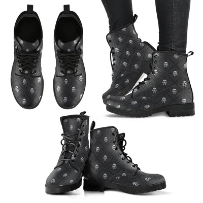New Comfortable Lace Up Leather Boots Skull 018