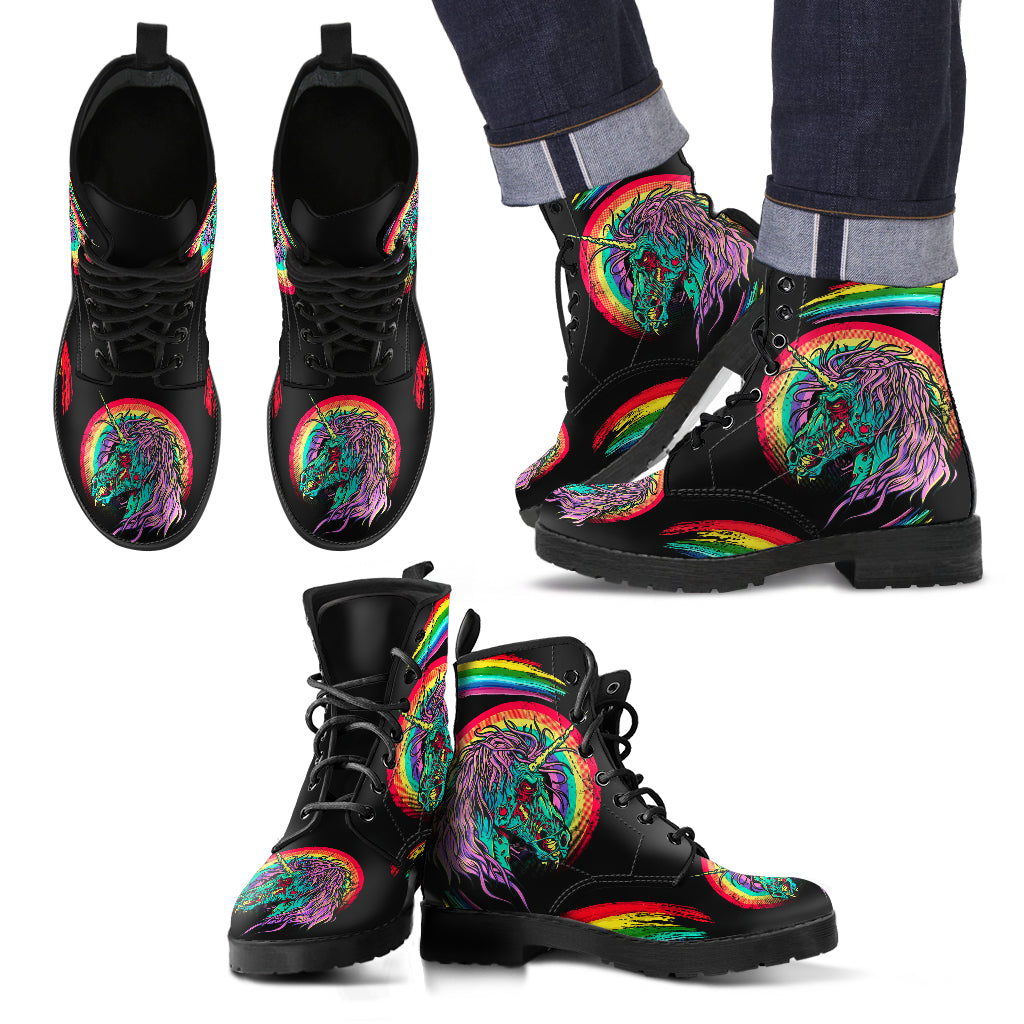 New Comfortable Lace Up Leather Boots Unicorn Skull 002 (Women Size) - designfullprint