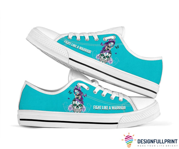 Teal and Purple Suicide Awareness Sugar Skull Fight Like A Warrior Shoes