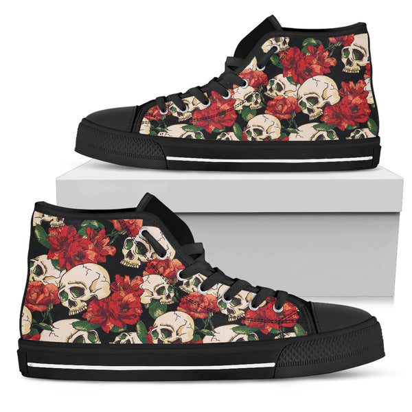 Floral Skull High Top Shoes - designfullprint