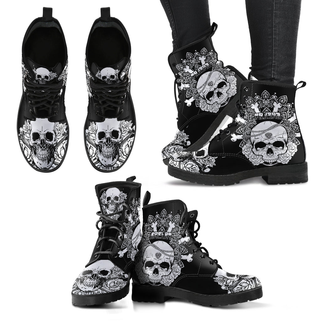 New Comfortable Lace Up Leather Skull Boots 005 - designfullprint