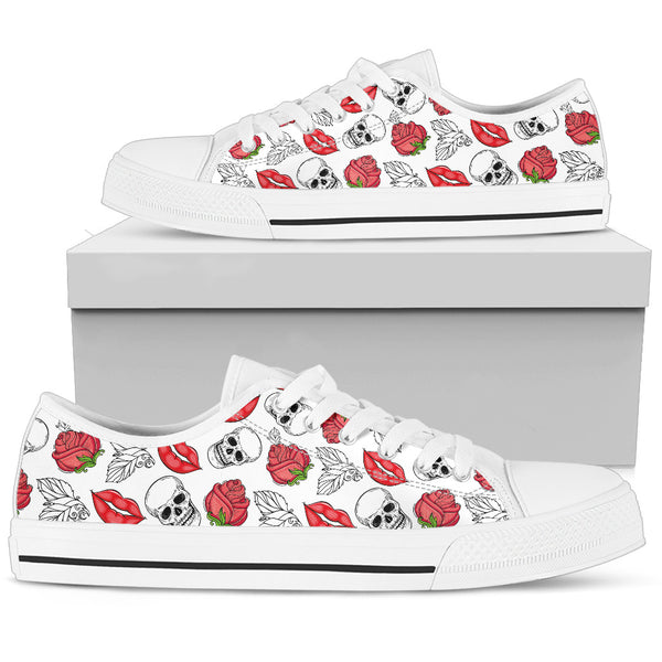 Skull Low Top Canvas Shoes 06 Women/Men, White - designfullprint