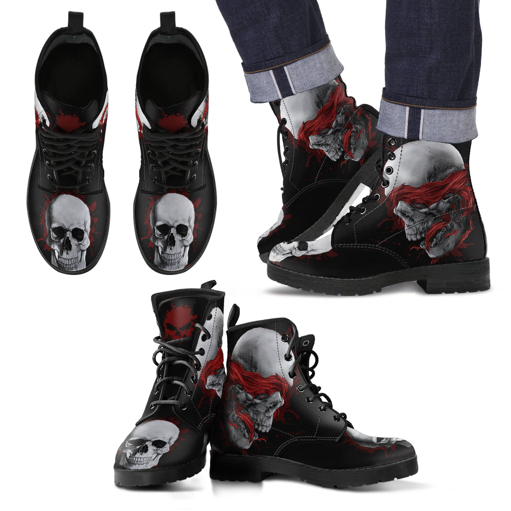 New Comfortable Lace Up Leather Skull Boots - Skull Blindfolded 010