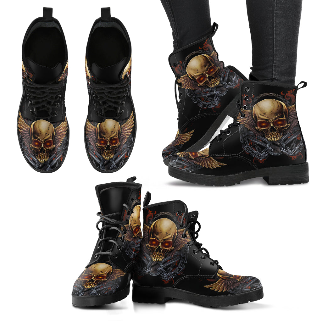 New Comfortable Lace Up Leather Boots Skull 020