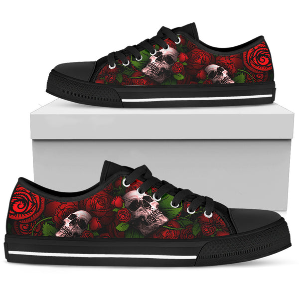 Women's Low Top Skull Shoe Red
