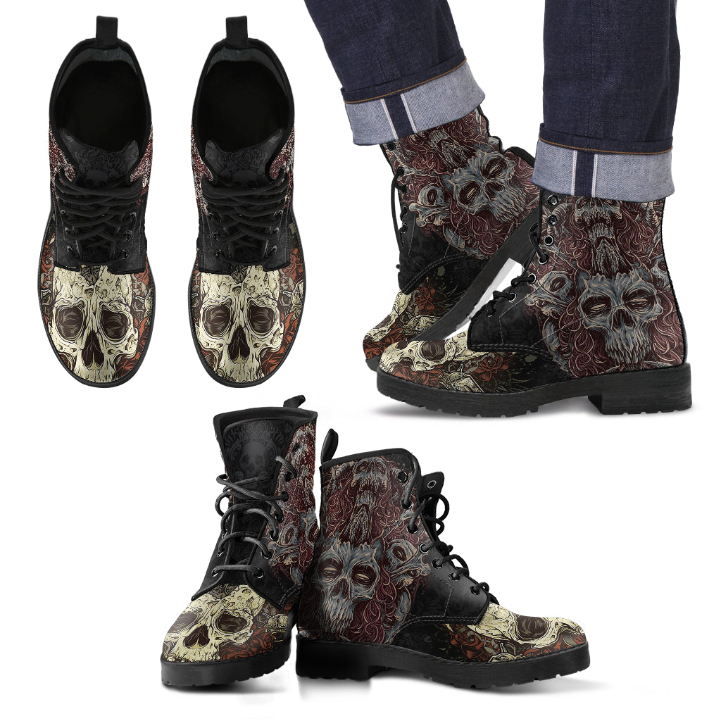 New Comfortable Lace Up Leather Skull Boots 001