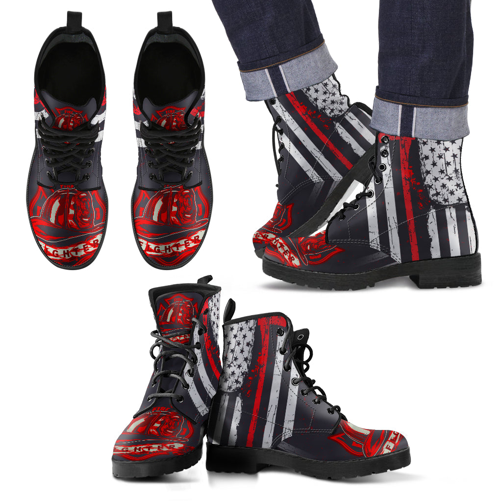 Leather Comfortable Lace Up Boots - FIRE DEPT Fire Fighter Fire Rescue 002