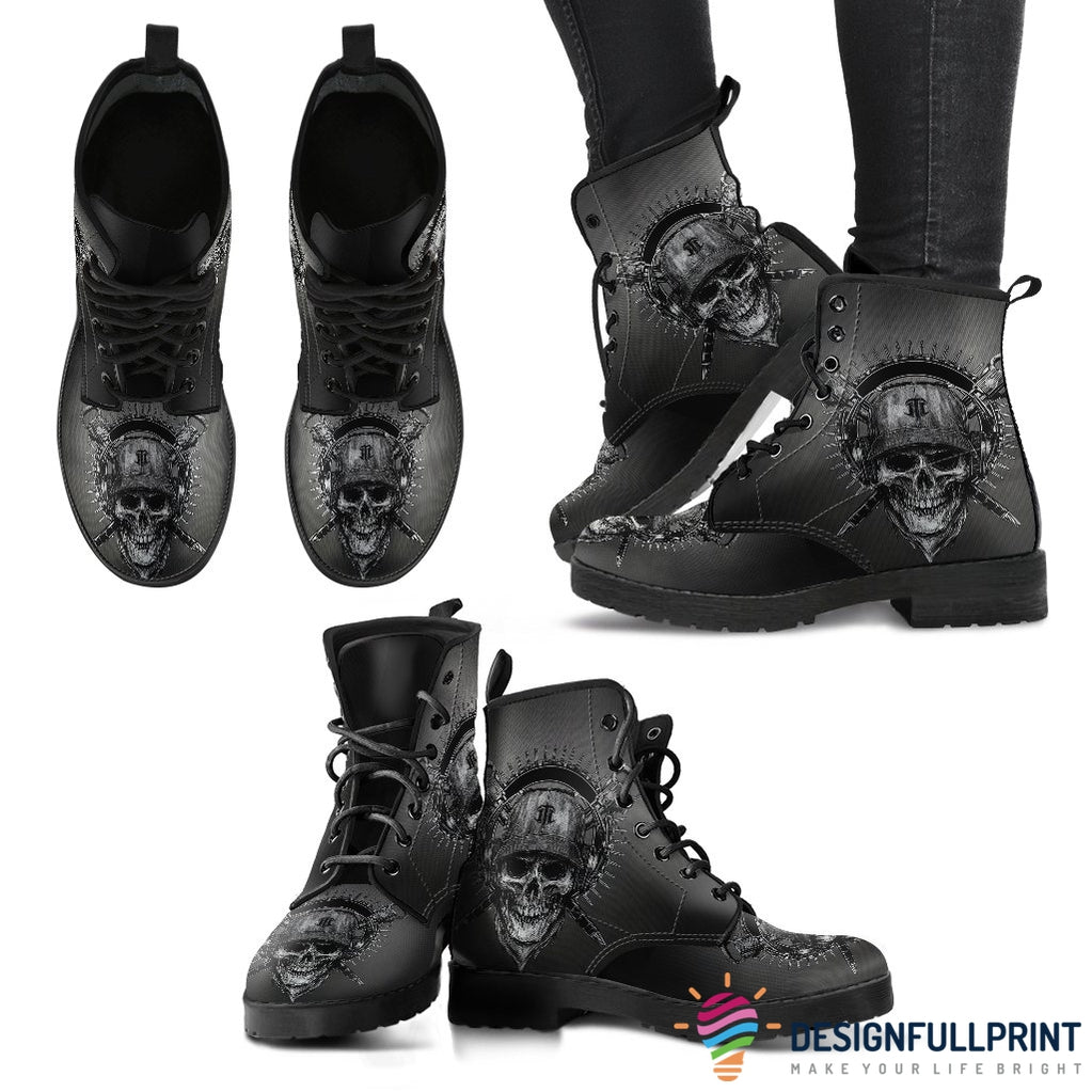 New Comfortable Lace Up Leather Skull Boots 012 - designfullprint