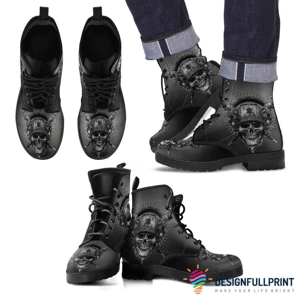 New Comfortable Lace Up Leather Skull Boots 012