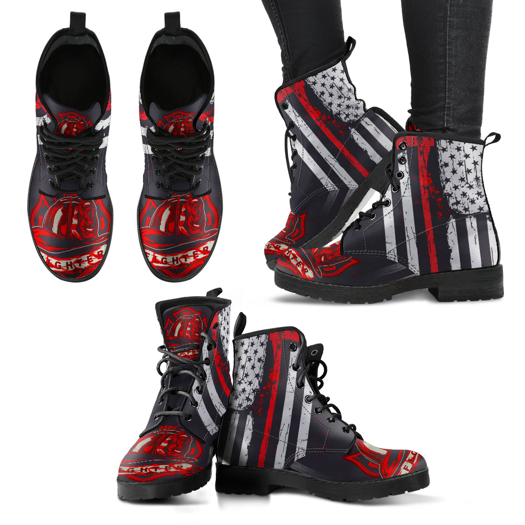 Leather Comfortable Lace Up Boots - FIRE DEPT Fire Fighter Fire Rescue (Men & Women Size) 002 - designfullprint