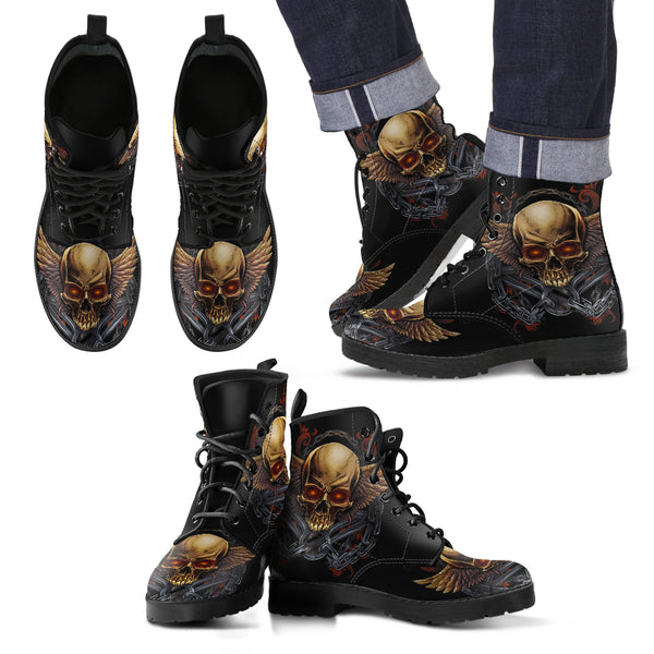 New Comfortable Lace Up Leather Boots Skull 020 - designfullprint