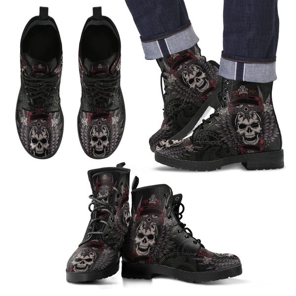 New Comfortable Lace Up Leather Skull Boots 006 - designfullprint
