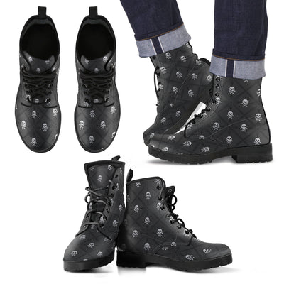 New Comfortable Lace Up Leather Boots Skull 018 - designfullprint