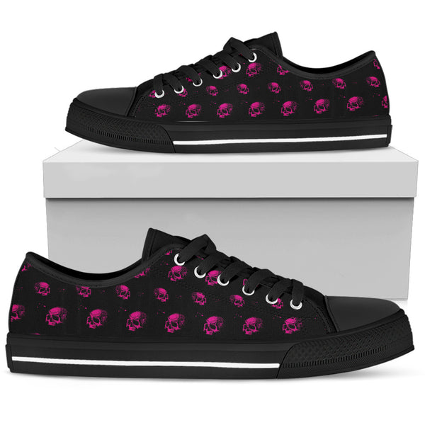 Skull Low Top Canvas Shoes 06 Women, Black/White - designfullprint