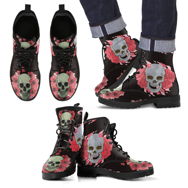 New Comfortable Lace Up Leather Skull Boots 002 - designfullprint