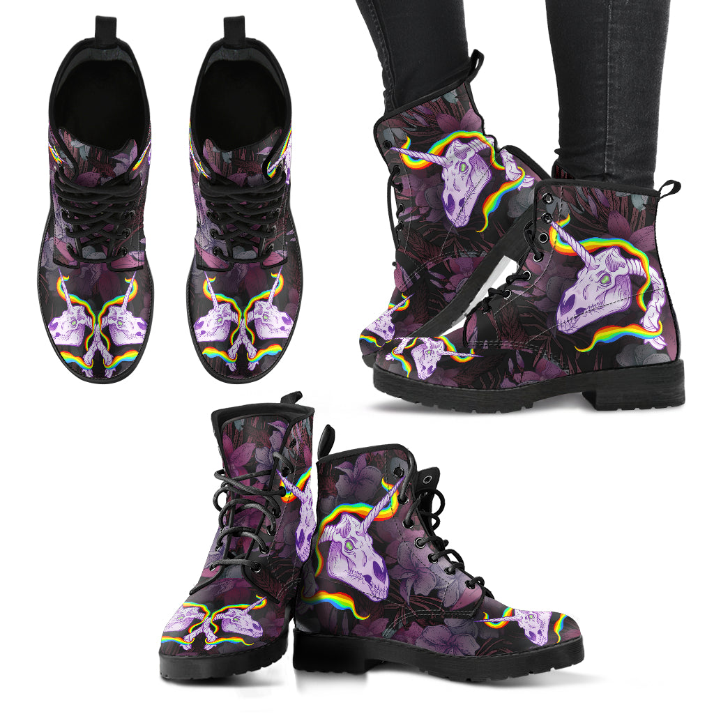 New Comfortable Lace Up Leather Boots Unicorn Skull 001