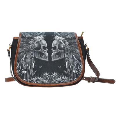 3D Skull Leather Cross-Body Carrying Strap Canvas Saddle Bags 001