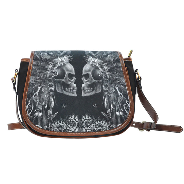 3D Skull Leather Cross-Body Carrying Strap Canvas Saddle Bags 001 - designfullprint