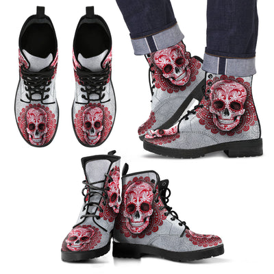 Red Skull Men's Leather Boots