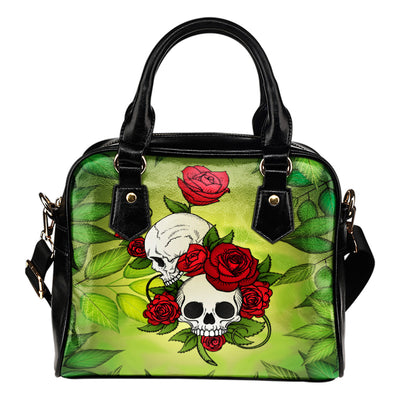 Roses and Skulls Leather Shoulder Bag