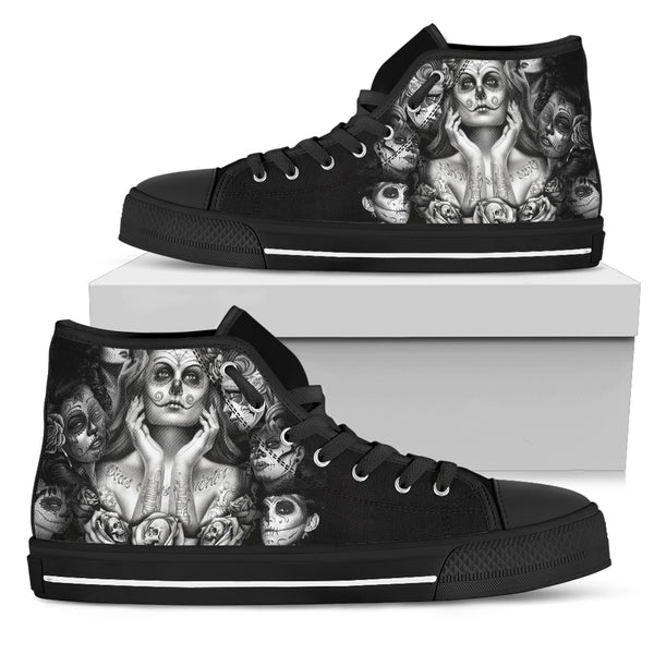 Sugar Skull High Top Shoes - designfullprint
